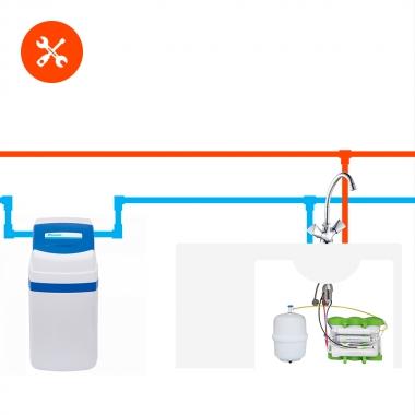 Установка и пробный запуск компактного или классического фильтра для дома ВМЕСТЕ с фильтром для питьевой воды